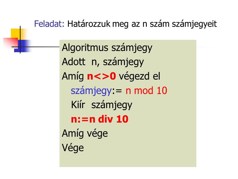 Feladat: Határozzuk meg az n szám számjegyeit