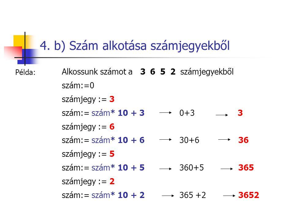 4. b) Szám alkotása számjegyekből