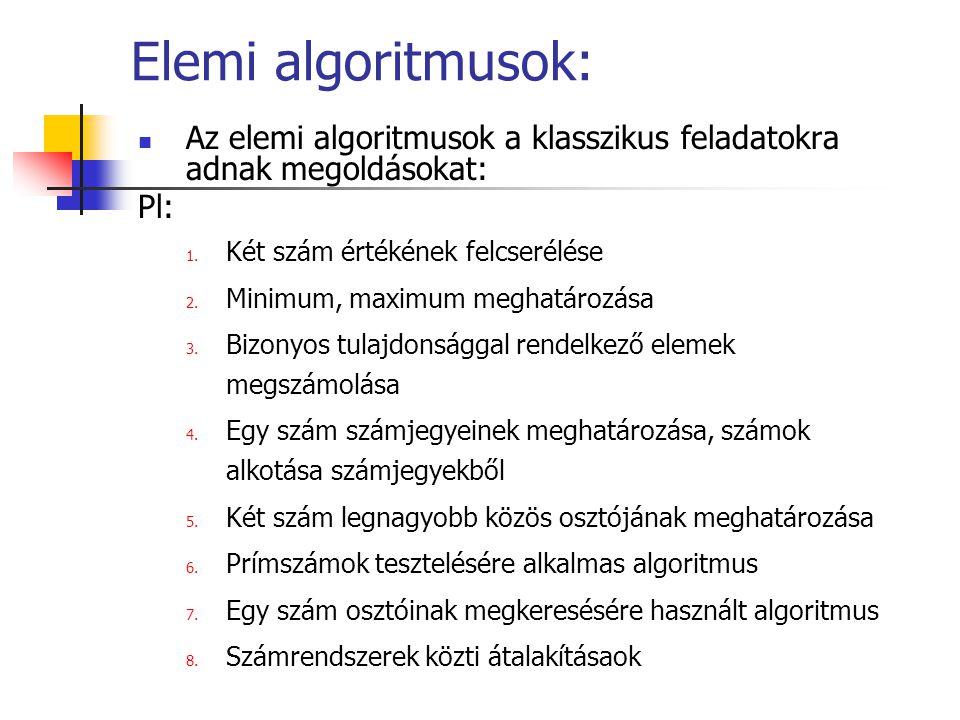 Elemi algoritmusok: Az elemi algoritmusok a klasszikus feladatokra adnak megoldásokat: Pl: Két szám értékének felcserélése.