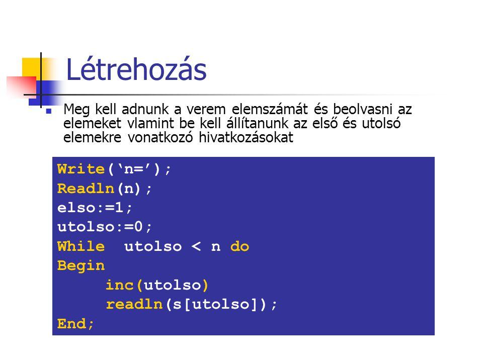Létrehozás Write('n='); Readln(n); elso:=1; utolso:=0;