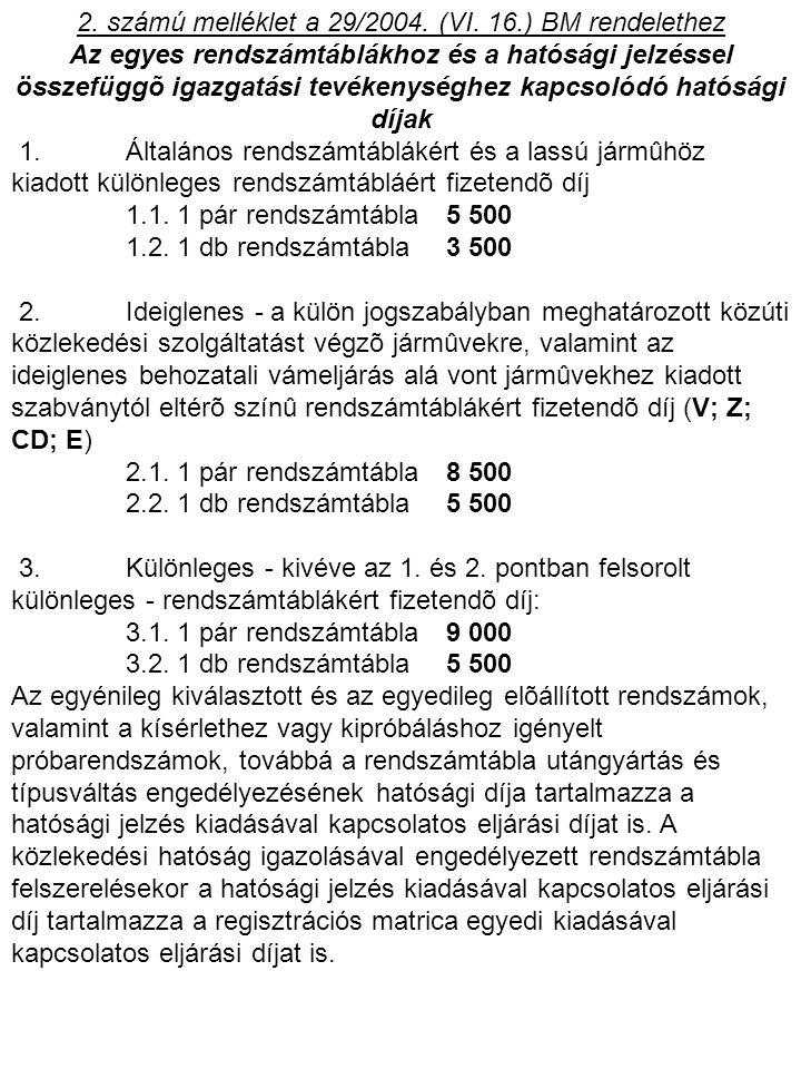 2. számú melléklet a 29/2004. (VI. 16.) BM rendelethez