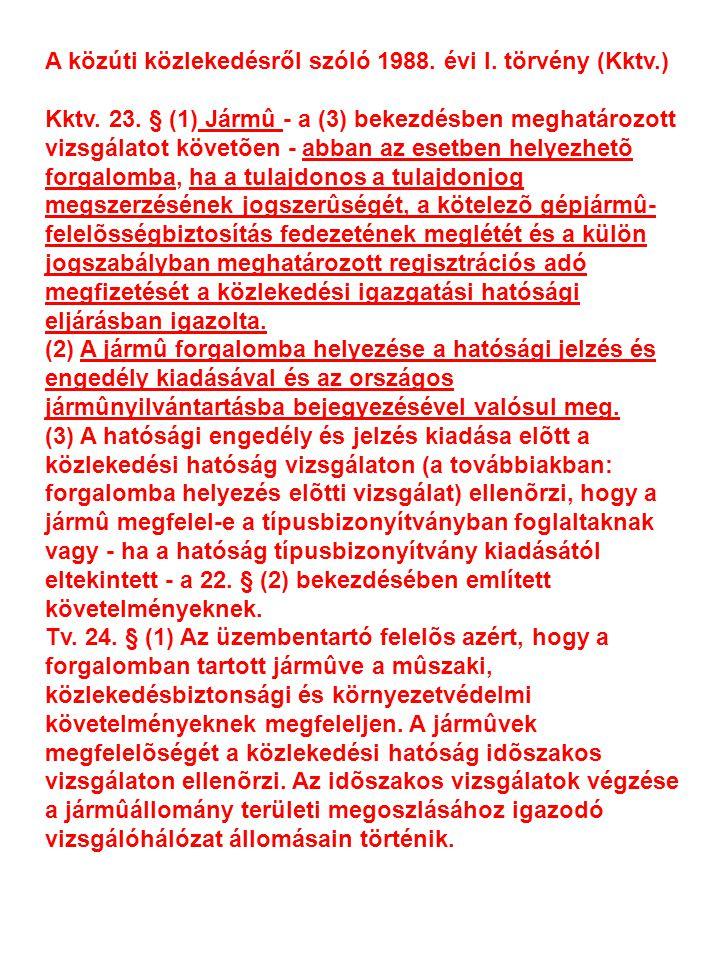 A közúti közlekedésről szóló 1988. évi I. törvény (Kktv.)