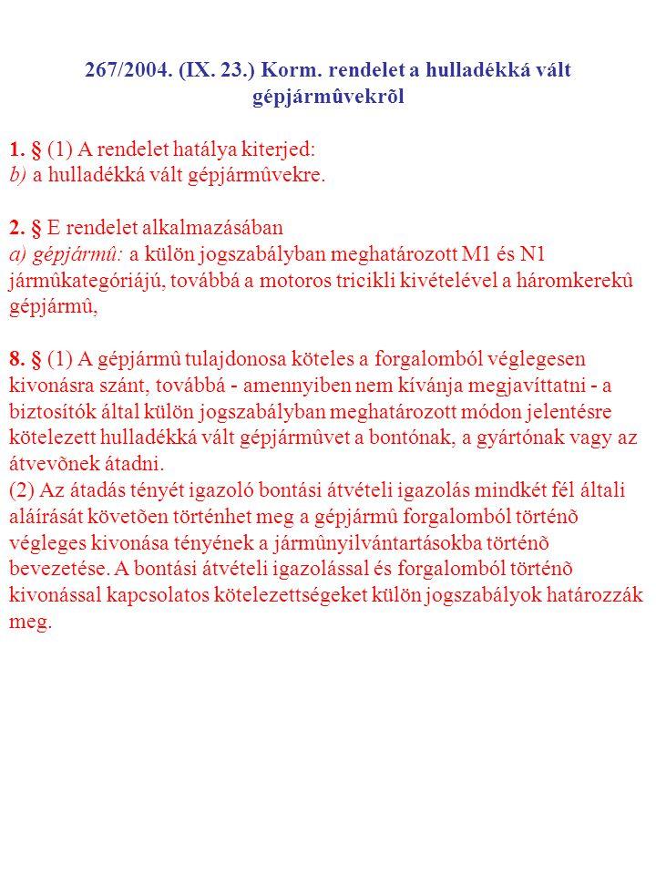 267/2004. (IX. 23.) Korm. rendelet a hulladékká vált gépjármûvekrõl