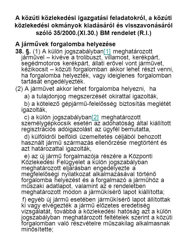 A közúti közlekedési igazgatási feladatokról, a közúti közlekedési okmányok kiadásáról és visszavonásáról szóló 35/2000.(XI.30.) BM rendelet (R.I.)