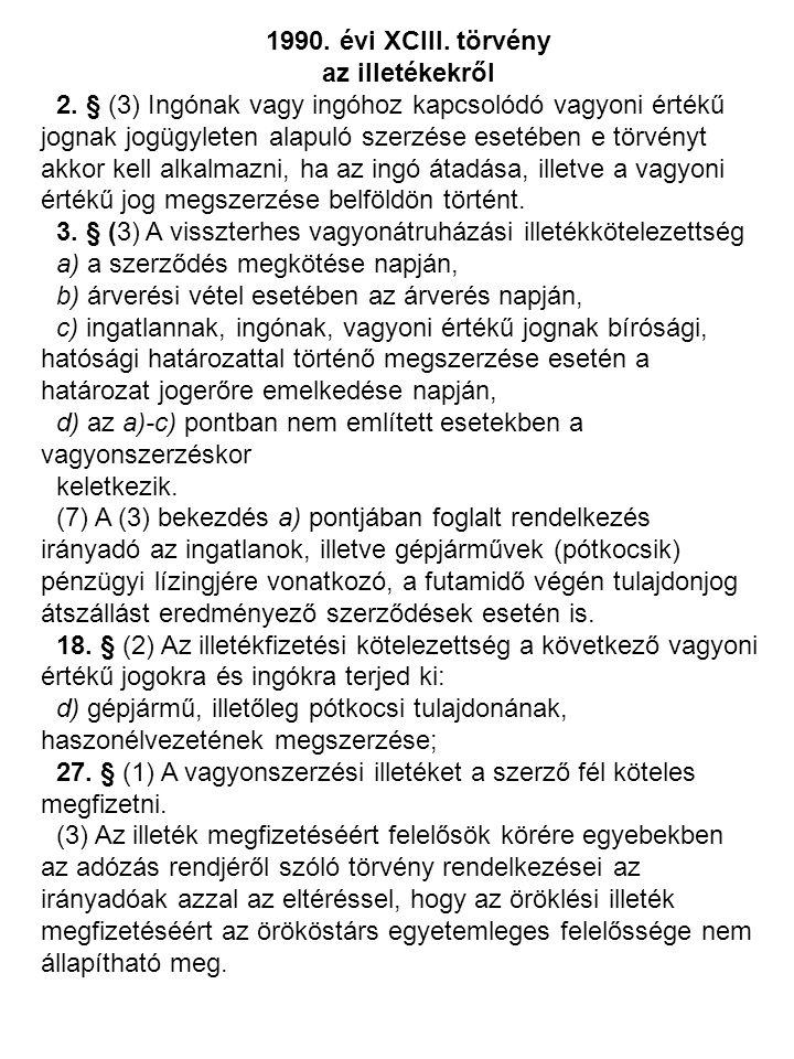 1990. évi XCIII. törvény az illetékekről.