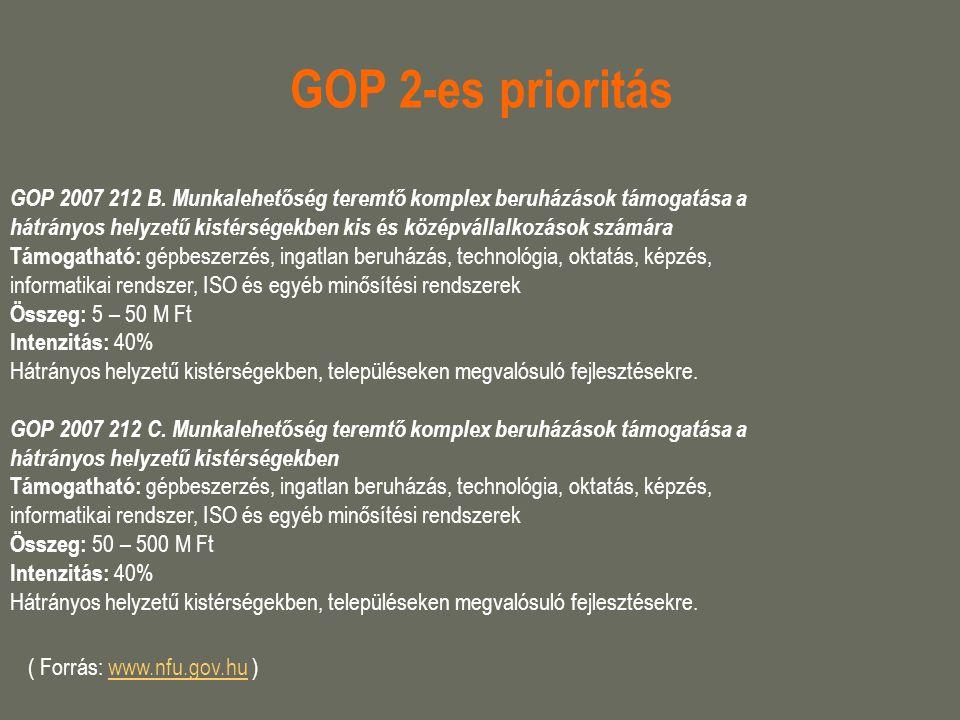 GOP 2-es prioritás GOP 2007 212 B. Munkalehetőség teremtő komplex beruházások támogatása a.