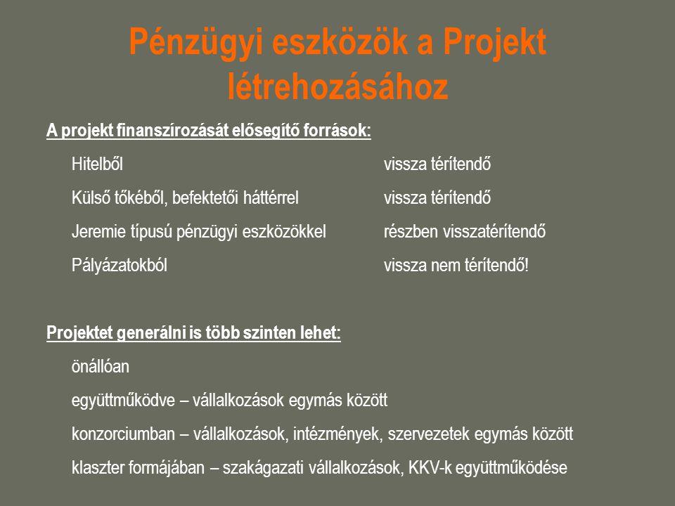 Pénzügyi eszközök a Projekt létrehozásához
