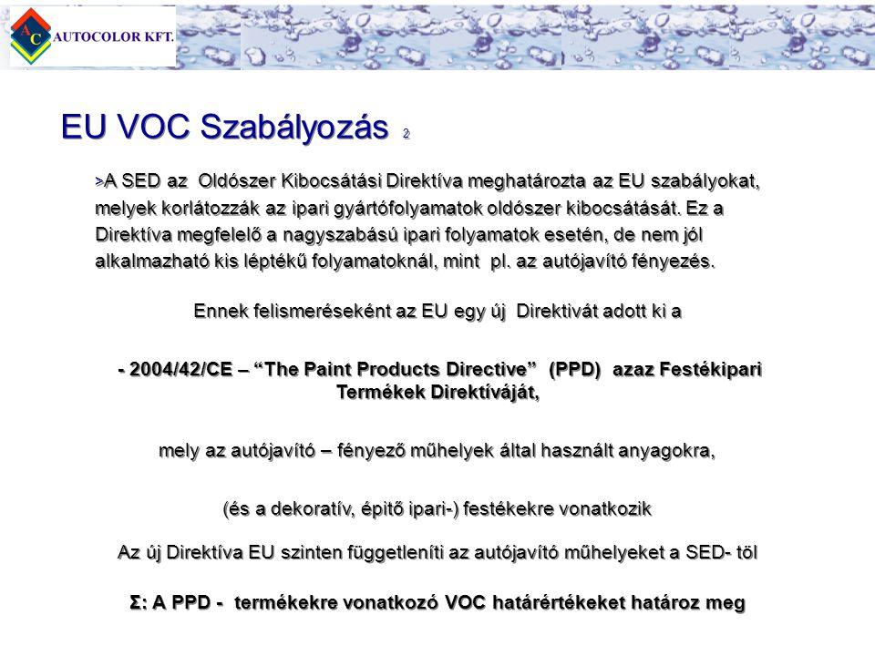 Σ: A PPD - termékekre vonatkozó VOC határértékeket határoz meg