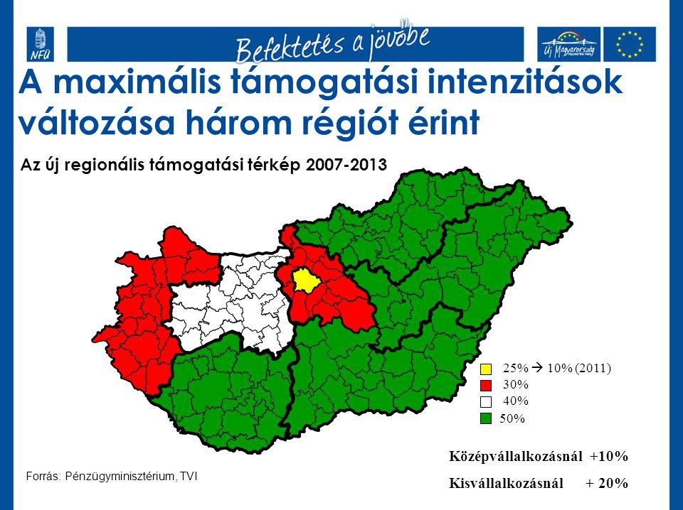 Az új regionális támogatási térkép 2007-2013