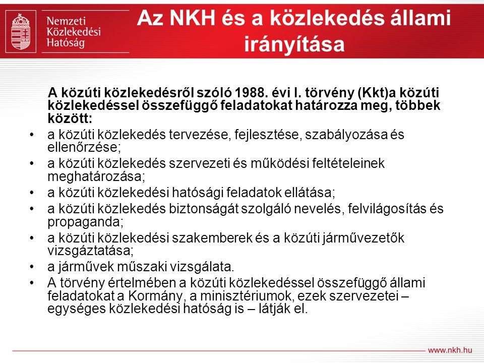 Az NKH és a közlekedés állami irányítása