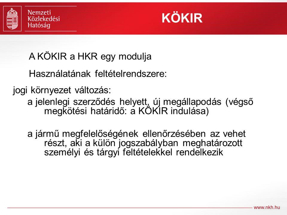 KÖKIR A KÖKIR a HKR egy modulja Használatának feltételrendszere:
