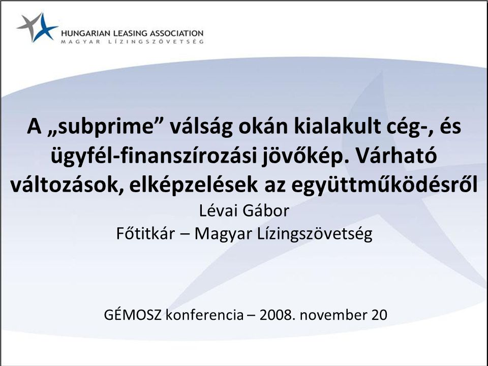 GÉMOSZ konferencia – 2008. november 20