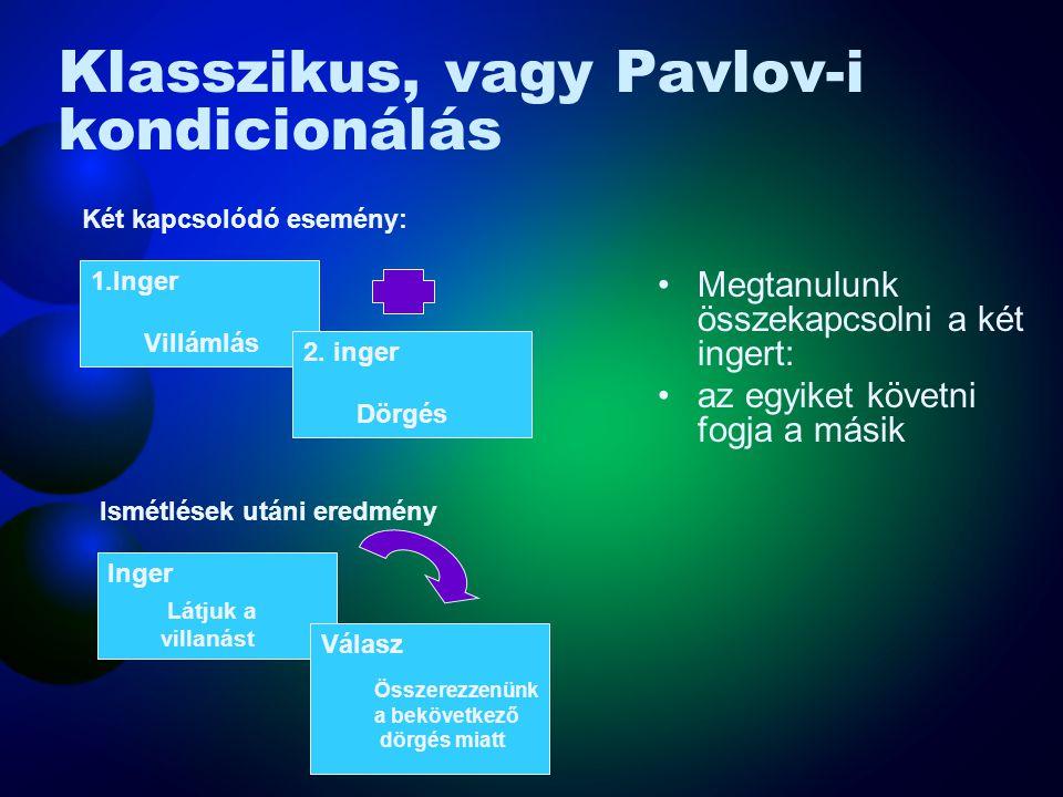 Klasszikus, vagy Pavlov-i kondicionálás