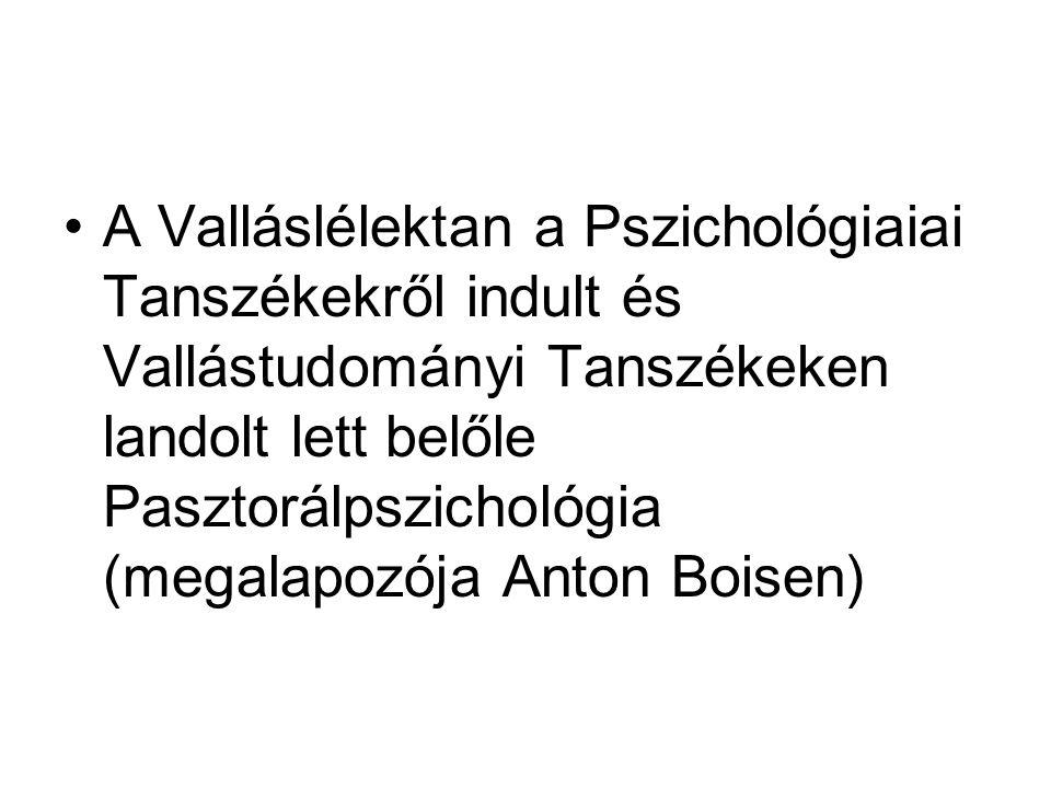 A Valláslélektan a Pszichológiaiai Tanszékekről indult és Vallástudományi Tanszékeken landolt lett belőle Pasztorálpszichológia (megalapozója Anton Boisen)
