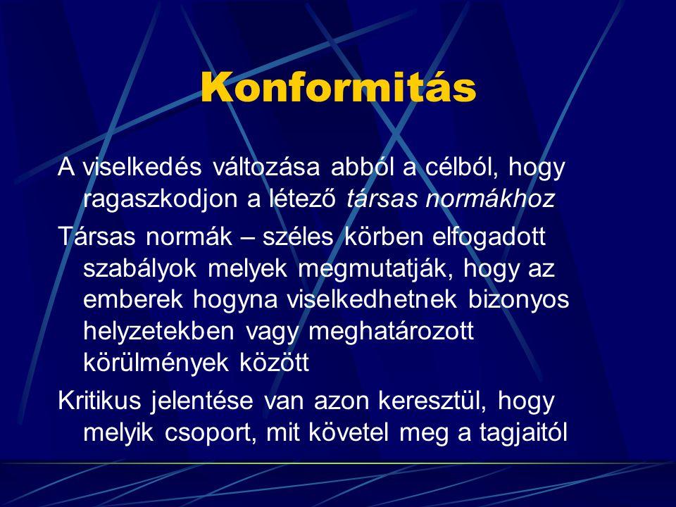 Konformitás A viselkedés változása abból a célból, hogy ragaszkodjon a létező társas normákhoz.
