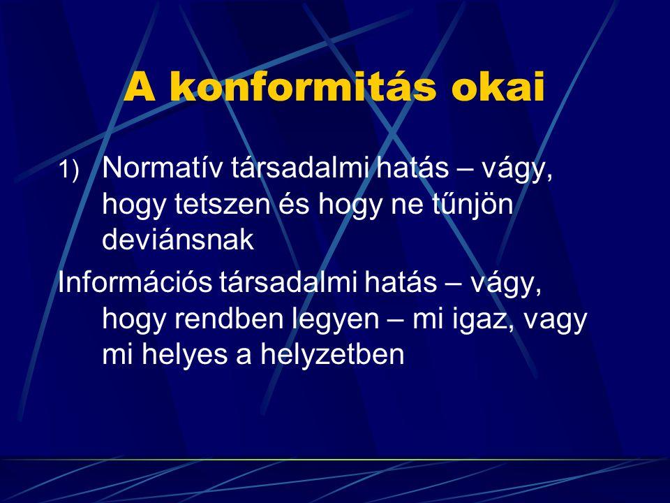 A konformitás okai Normatív társadalmi hatás – vágy, hogy tetszen és hogy ne tűnjön deviánsnak.