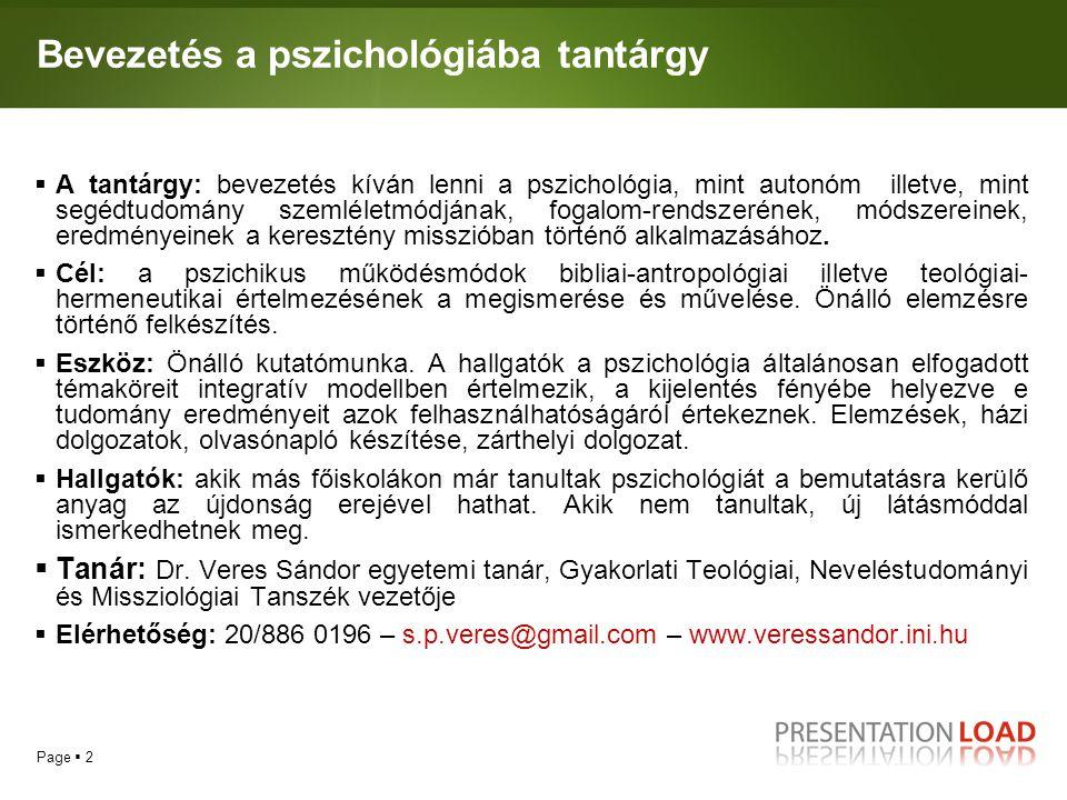 Bevezetés a pszichológiába tantárgy