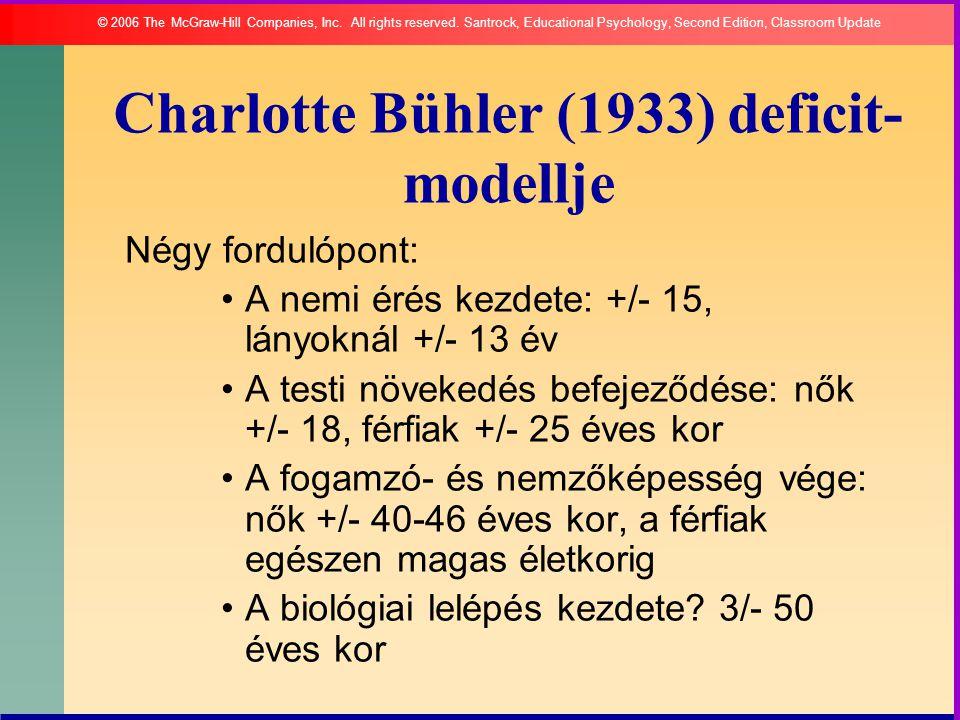 Charlotte Bühler (1933) deficit- modellje