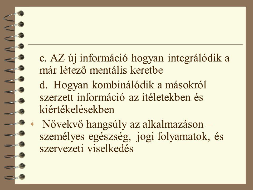 c. AZ új információ hogyan integrálódik a már létező mentális keretbe
