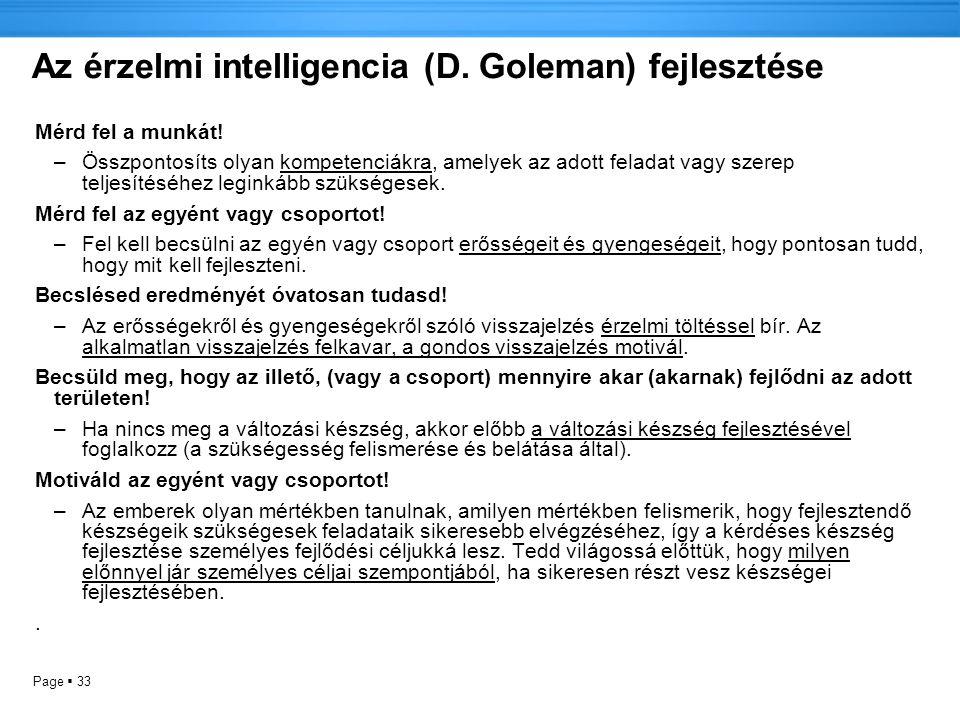 Az érzelmi intelligencia (D. Goleman) fejlesztése