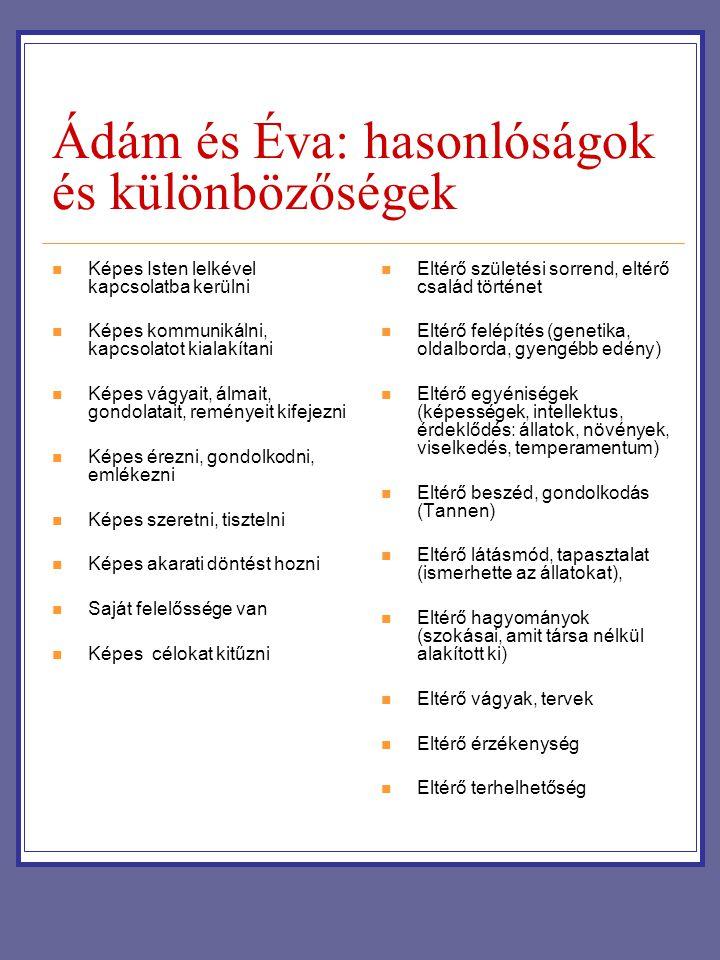 Ádám és Éva: hasonlóságok és különbözőségek