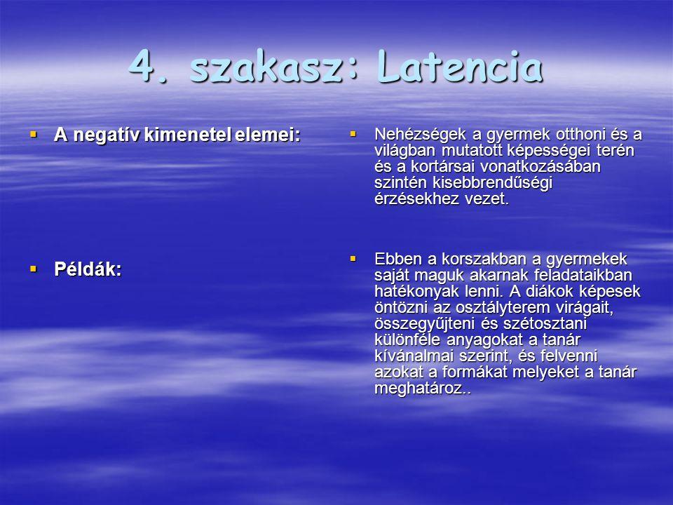4. szakasz: Latencia A negatív kimenetel elemei: Példák: