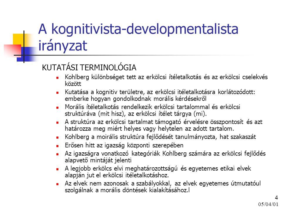 A kognitivista-developmentalista irányzat