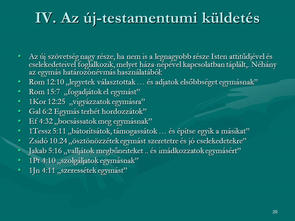 IV. Az új-testamentumi küldetés