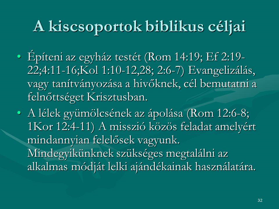 A kiscsoportok biblikus céljai