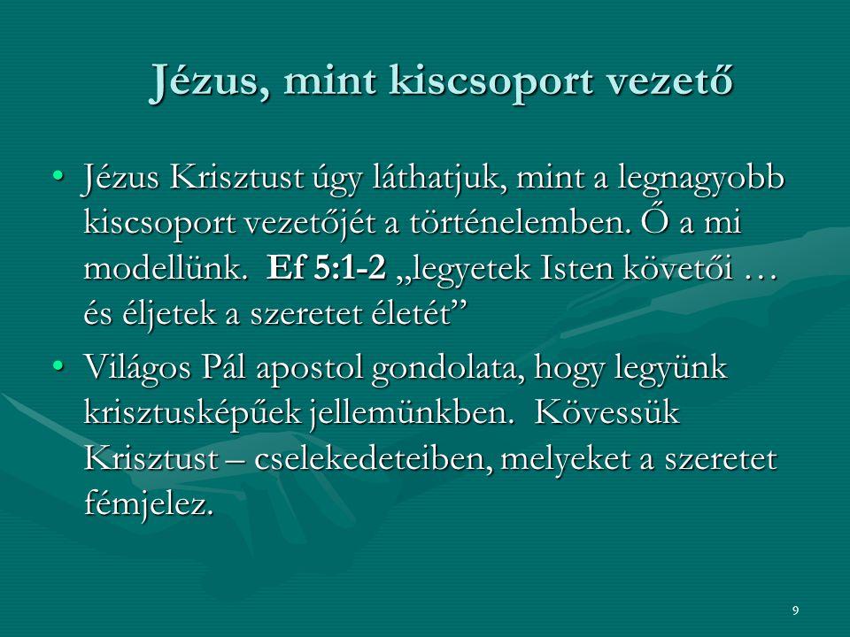 Jézus, mint kiscsoport vezető