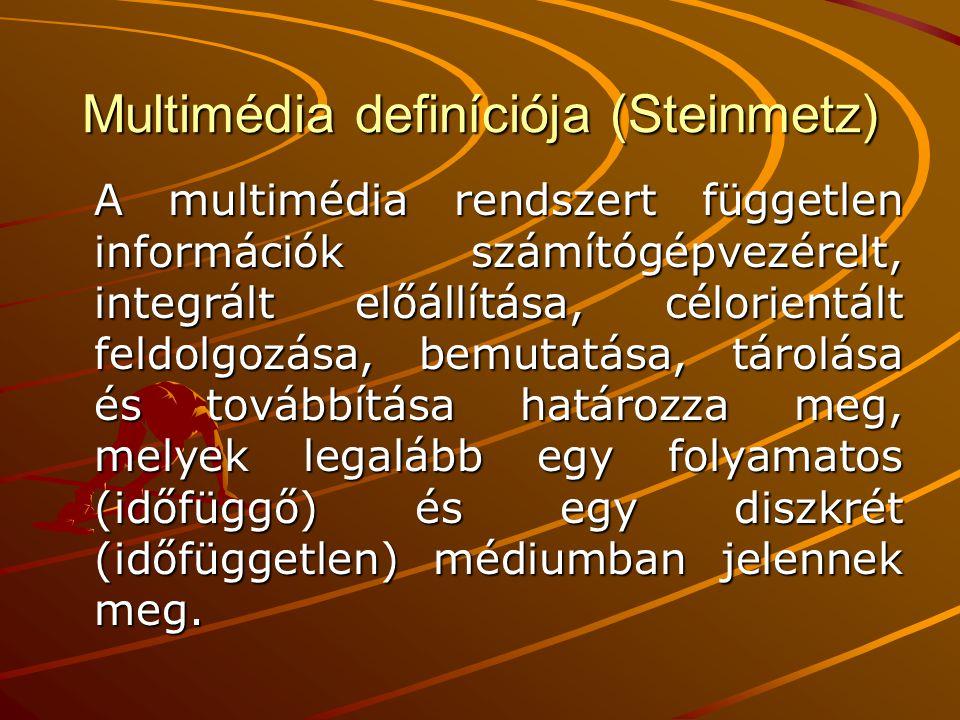 Multimédia definíciója (Steinmetz)
