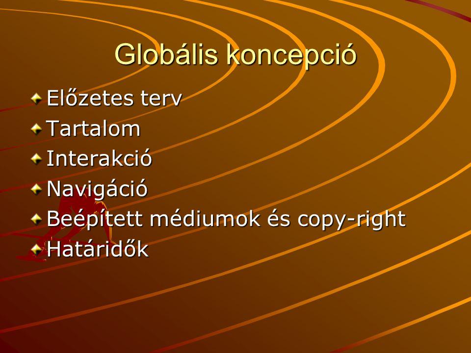 Globális koncepció Előzetes terv Tartalom Interakció Navigáció