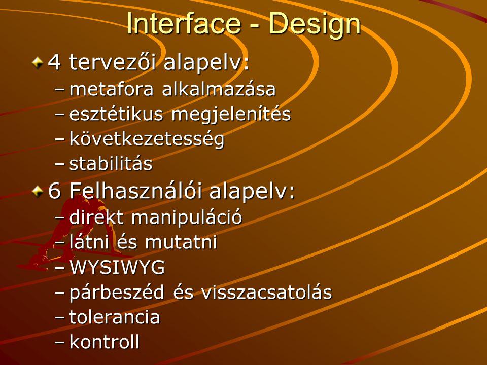 Interface - Design 4 tervezői alapelv: 6 Felhasználói alapelv: