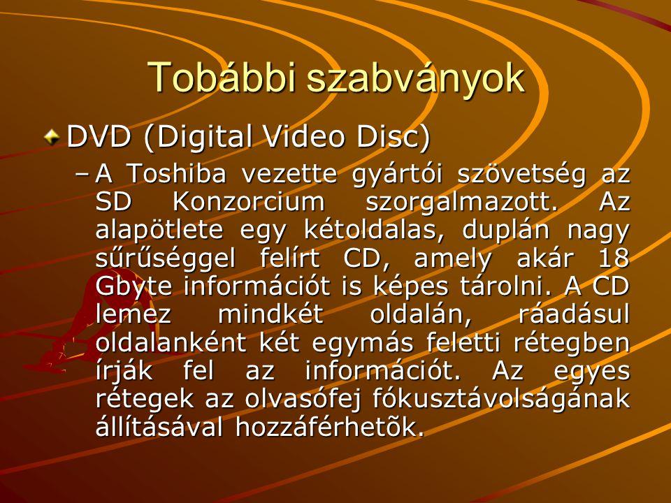 Tobábbi szabványok DVD (Digital Video Disc)
