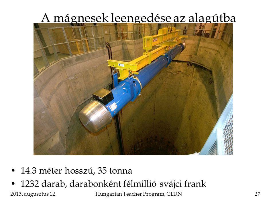 A mágnesek leengedése az alagútba