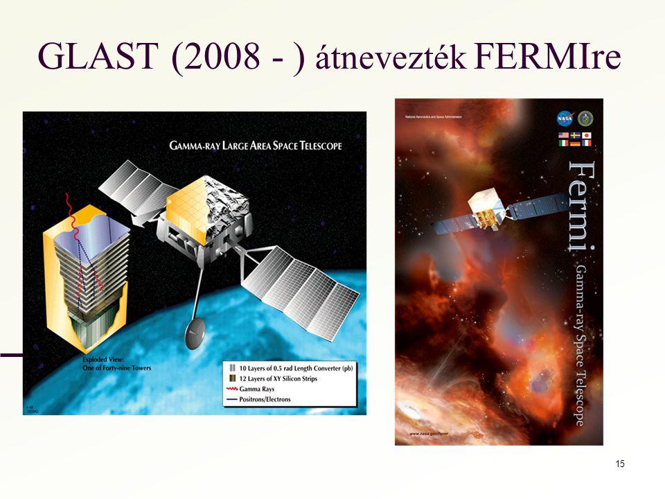 GLAST (2008 - ) átnevezték FERMIre