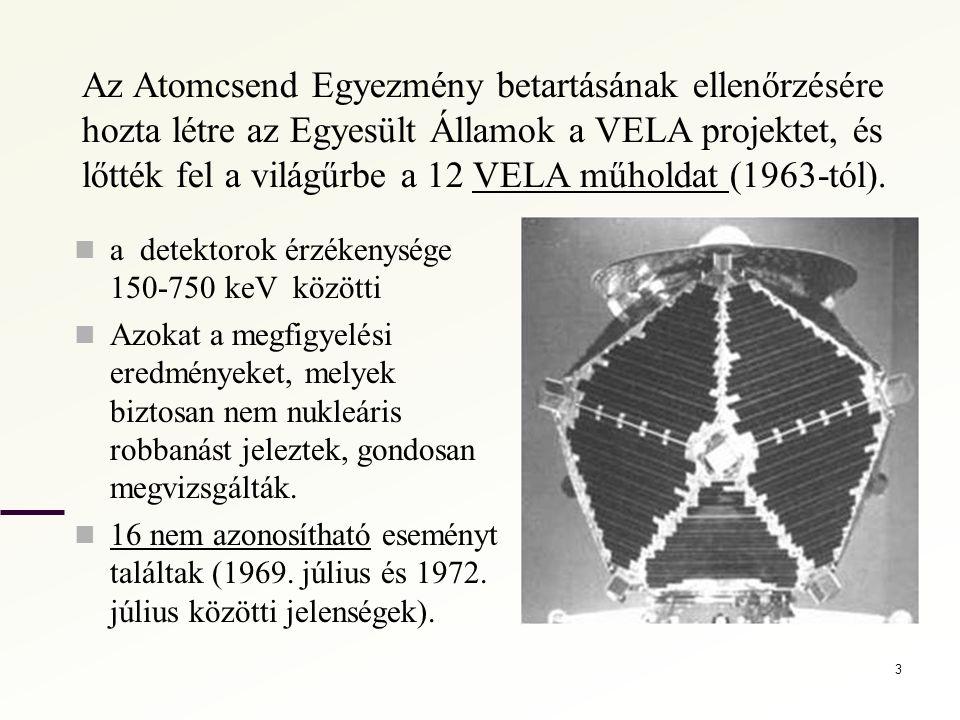 Az Atomcsend Egyezmény betartásának ellenőrzésére hozta létre az Egyesült Államok a VELA projektet, és lőtték fel a világűrbe a 12 VELA műholdat (1963-tól).