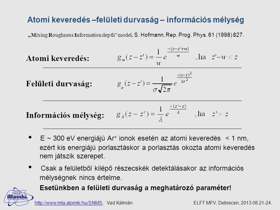 E ~ 300 eV energiájú Ar+ ionok esetén az atomi keveredés < 1 nm,