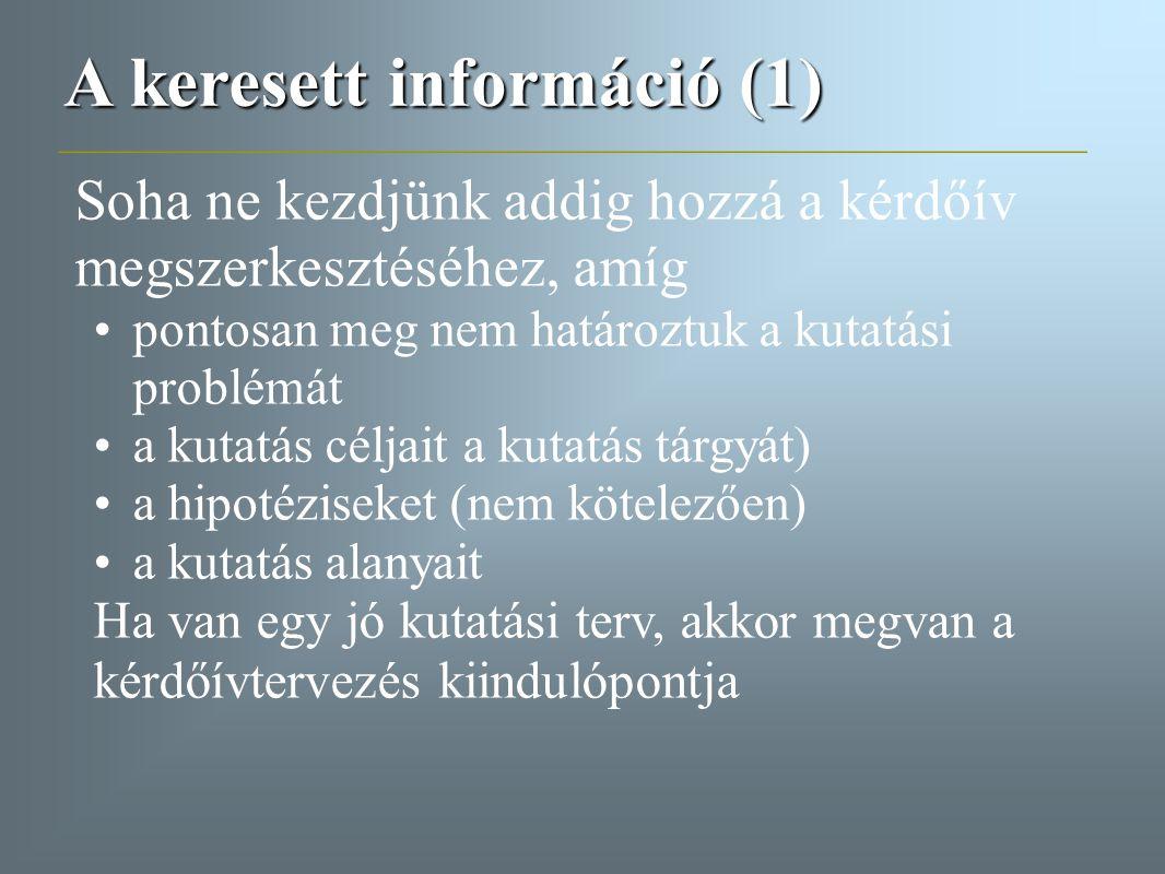 A keresett információ (1)