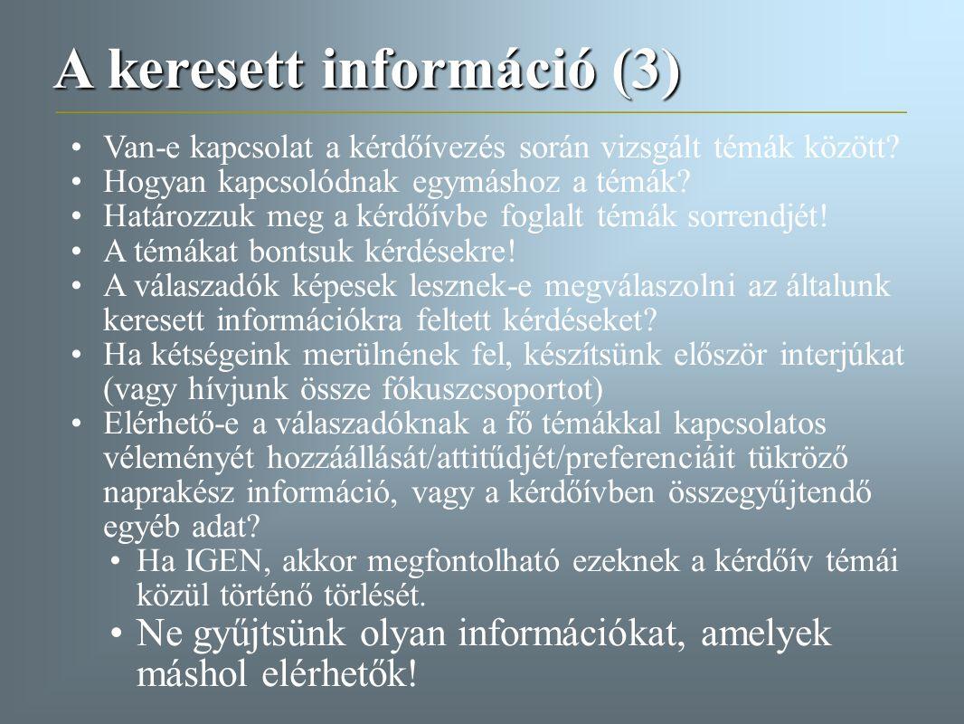 A keresett információ (3)
