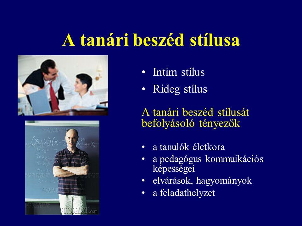 A tanári beszéd stílusa
