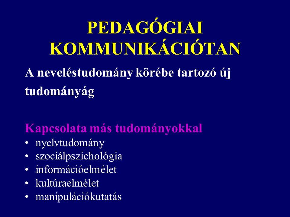 PEDAGÓGIAI KOMMUNIKÁCIÓTAN