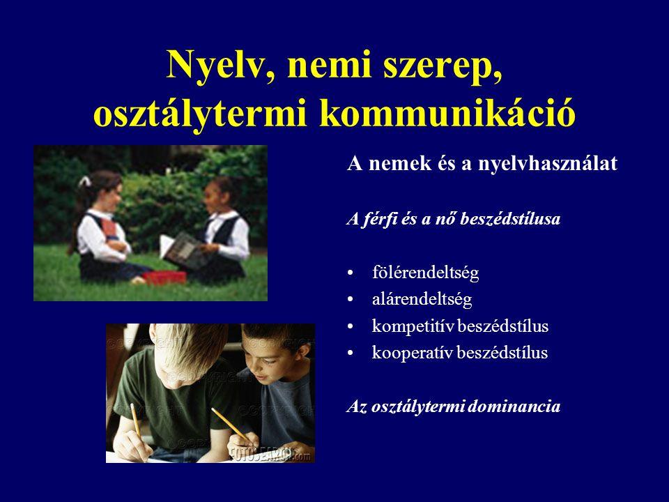 Nyelv, nemi szerep, osztálytermi kommunikáció