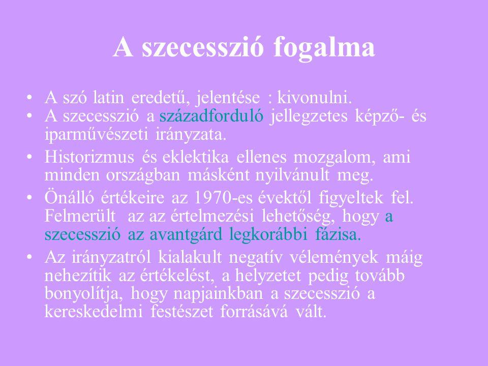 A szecesszió fogalma A szó latin eredetű, jelentése : kivonulni.