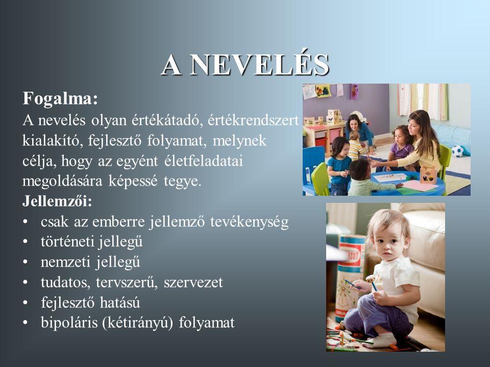 A NEVELÉS Fogalma: A nevelés olyan értékátadó, értékrendszert