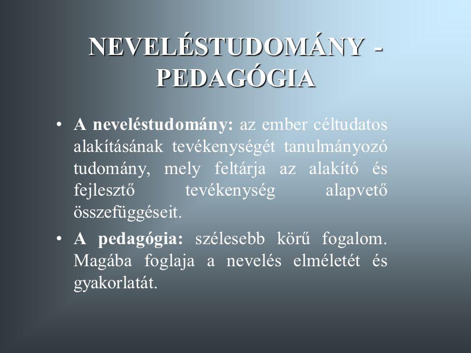 NEVELÉSTUDOMÁNY - PEDAGÓGIA