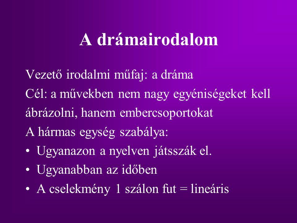 A drámairodalom Vezető irodalmi műfaj: a dráma