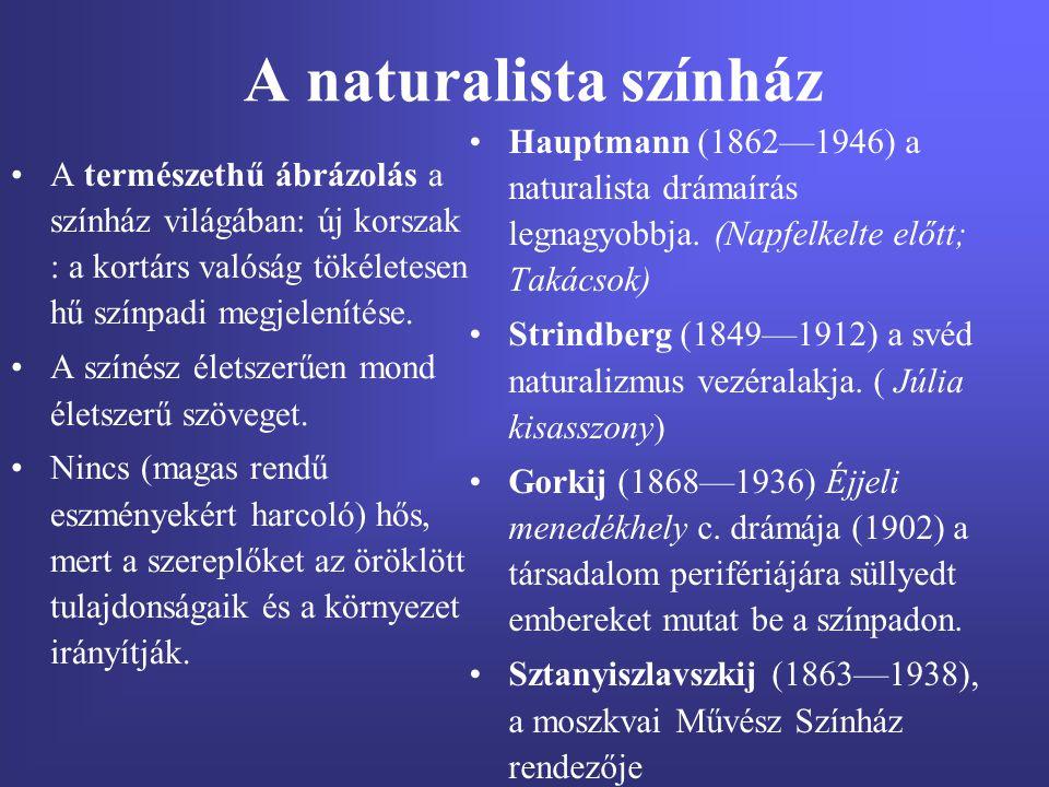 A naturalista színház Hauptmann (1862—1946) a naturalista drámaírás legnagyobbja. (Napfelkelte előtt; Takácsok)