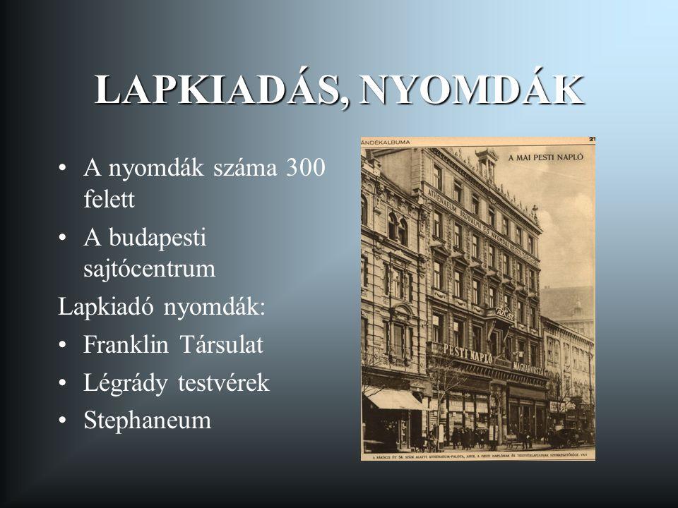 LAPKIADÁS, NYOMDÁK A nyomdák száma 300 felett A budapesti sajtócentrum