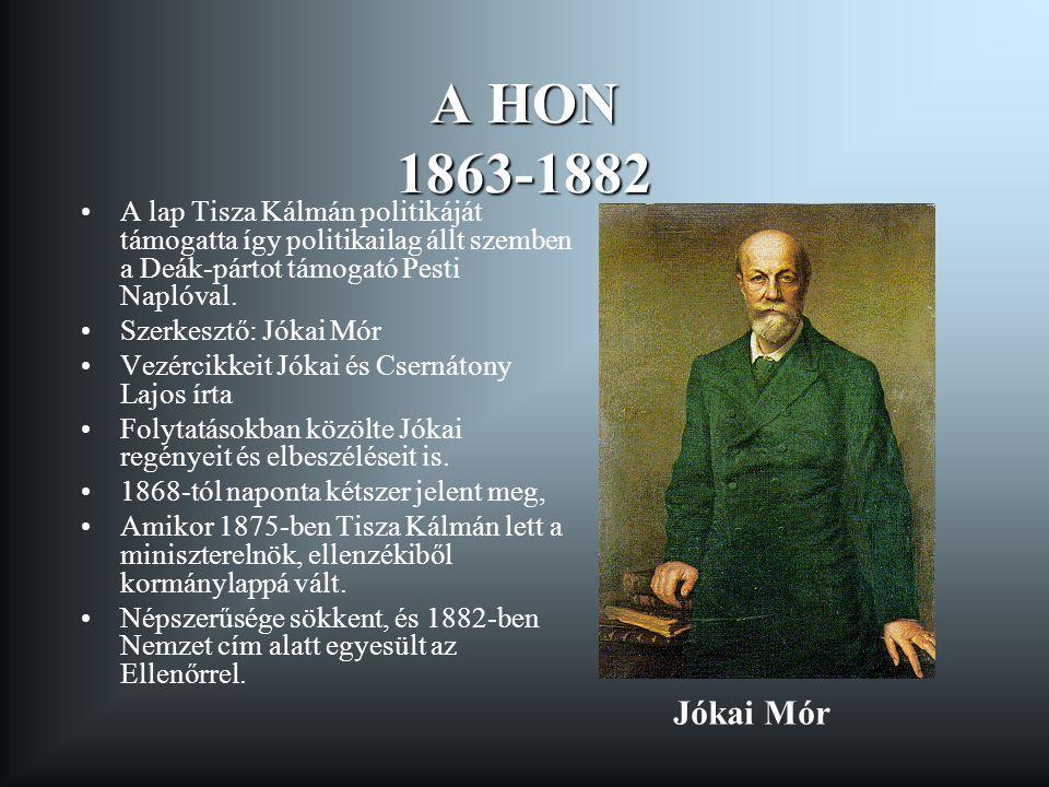 A HON 1863-1882 A lap Tisza Kálmán politikáját támogatta így politikailag állt szemben a Deák-pártot támogató Pesti Naplóval.